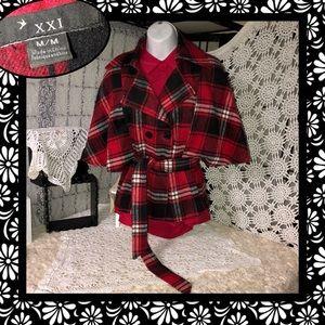 XXI Forever 21 Plaid Poncho Look Jacket SIZE M